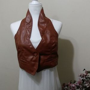 Paper Tee Faux Leather Cropped Vest Size Large